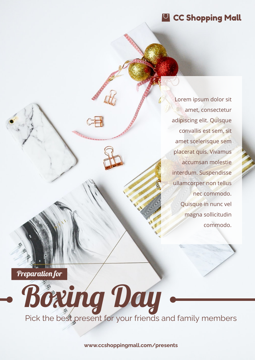 Flyer template: Preparation For Boxing Day Flyer (Created by InfoART's Flyer maker)