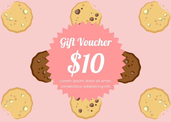 Gift Card template: Cookie Gift Voucher (Created by InfoART's Gift Card marker)