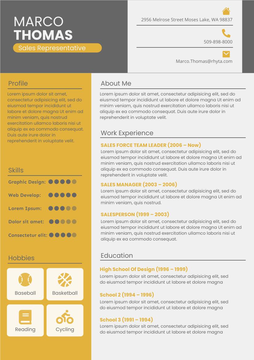 Resume template: Detailed Resume (Created by InfoART's Resume maker)