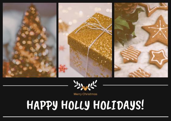 Postcard template: Black And Yellow Christmas Photos Postcard (Created by InfoART's Postcard maker)