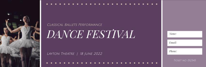 Ticket template: Ballet Dance Festival Ticket (Created by InfoART's Ticket maker)
