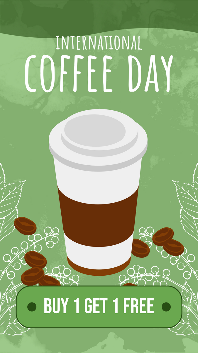 Instagram Story template: Coffee Day Discount Instagram Story (Created by InfoART's Instagram Story maker)