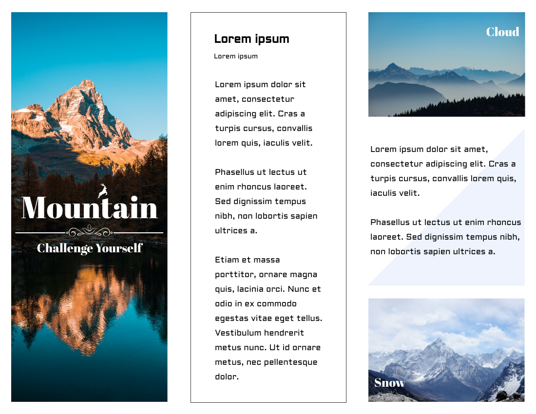 Brochure template: Climbing Mountain And Challenge Yourself Brochure (Created by InfoART's Brochure maker)