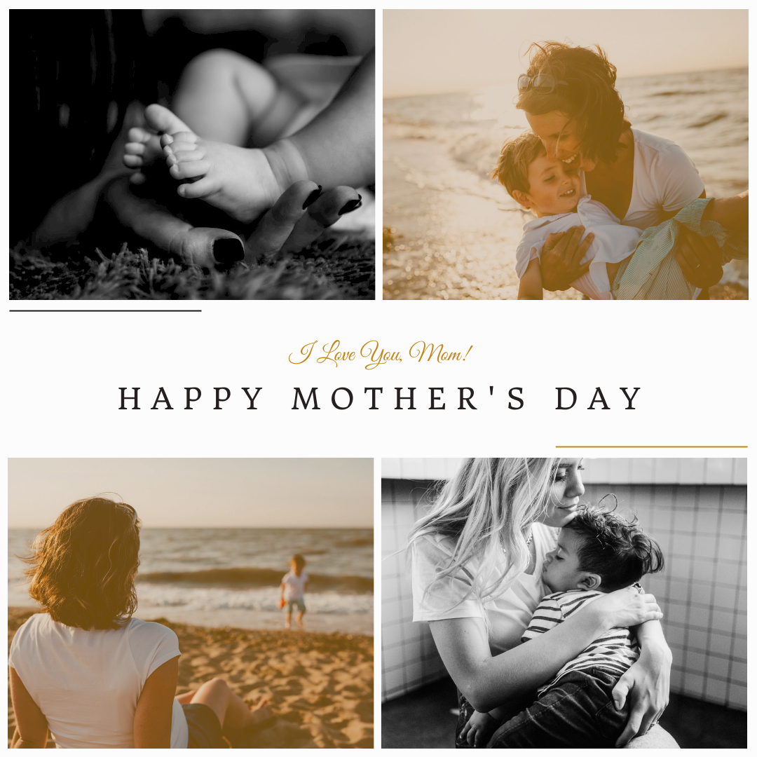 Instagram Post template: Simple Four Photos Mother's Day Instagram Post (Created by InfoART's Instagram Post maker)