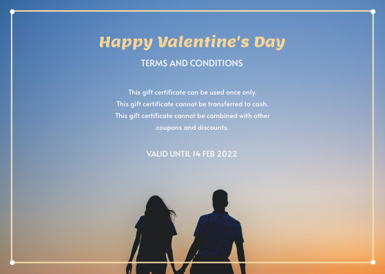 Gift Card template: Blue And Orange Gradient Photo Valentines Day Gift Card (Created by InfoART's Gift Card maker)