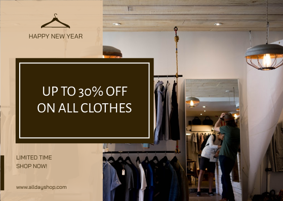 Gift Card template: Brown Cloth Shop New Year Sale Gift Card (Created by InfoART's Gift Card maker)