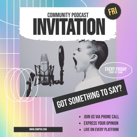 Invitation template: Holographic Podcast Invitation (Created by InfoART's Invitation maker)