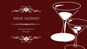 Business Card template: Wine Red Wine Glass Bartender Business Card (Created by InfoART's Business Card maker)