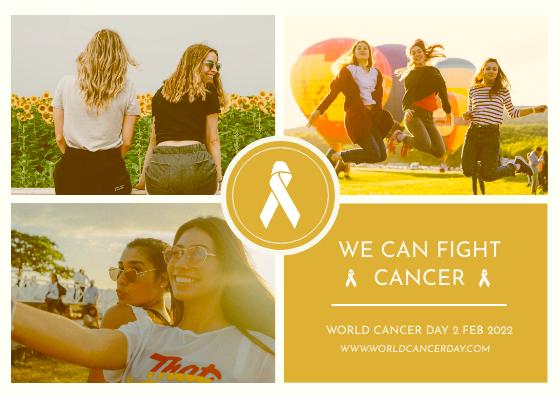 Postcard template: Yellow Women Photo Grid World Cancer Day Postcard (Created by InfoART's Postcard maker)
