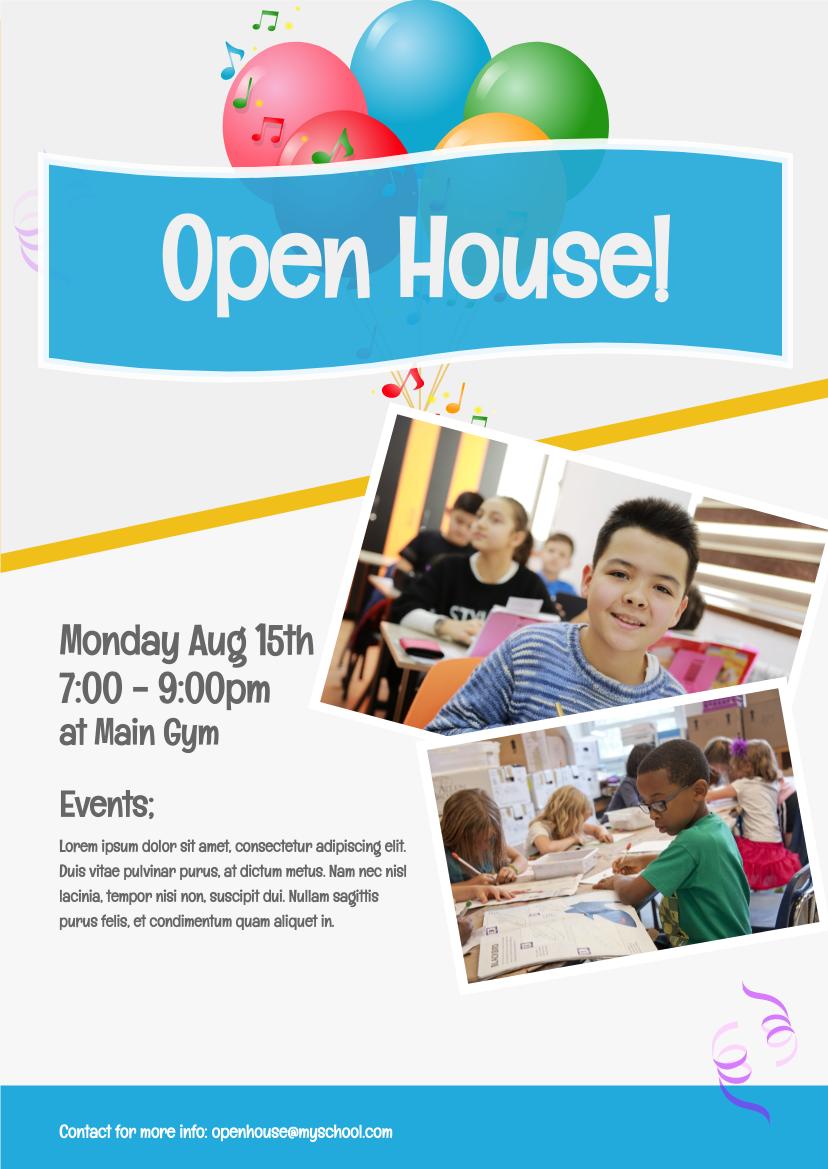 Flyer template: School Open House (Created by InfoART's Flyer maker)