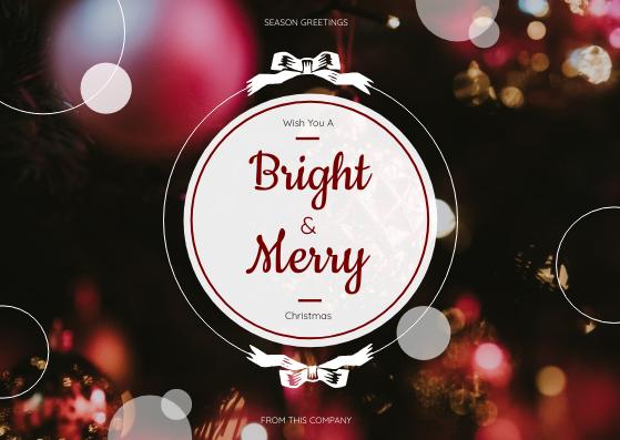 Postcard template: Red Circles Christmas Seasons Greetings Postcard (Created by InfoART's Postcard maker)
