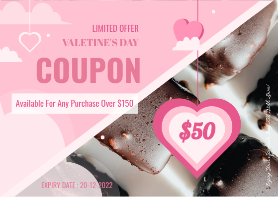 Gift Card template: Valentine Chocolate Gift Card (Created by InfoART's Gift Card maker)