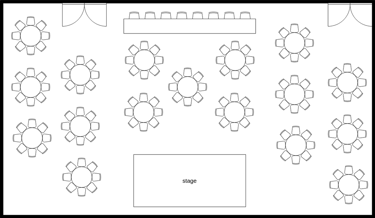 Seating Chart template: Event Hall Seating Plan (Created by InfoART's Seating Chart maker)