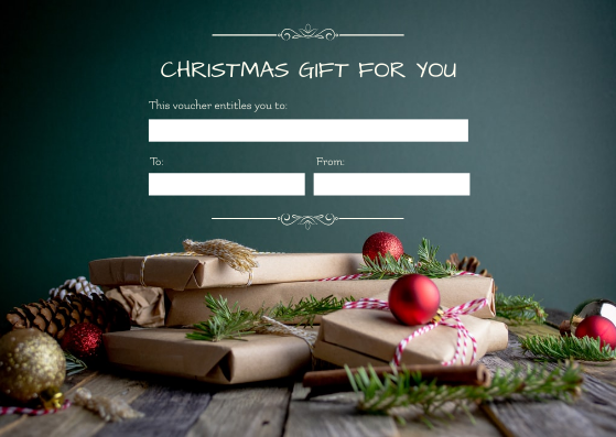 Gift Card template: Classic Green Christmas Voucher Gift Card (Created by InfoART's Gift Card maker)