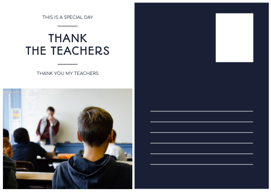Postcard template: Blue Photo Collage Teacher's Day Postcard (Created by InfoART's Postcard maker)