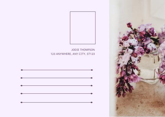 Postcard template: Light Purple Wedding Cakes Photo Wedding Postcard (Created by InfoART's Postcard maker)
