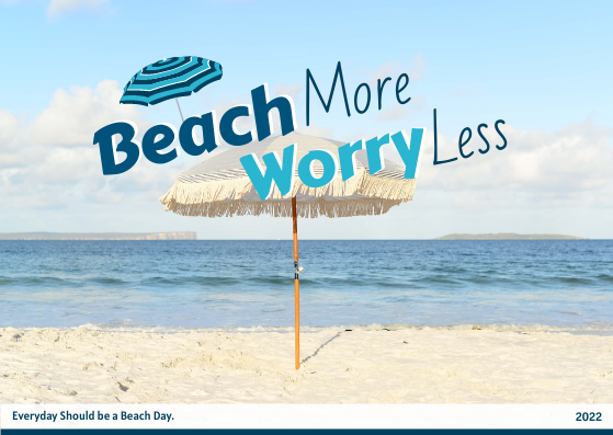 Post Card template: Beach More Worry Less Post Card (Created by InfoART's Post Card marker)