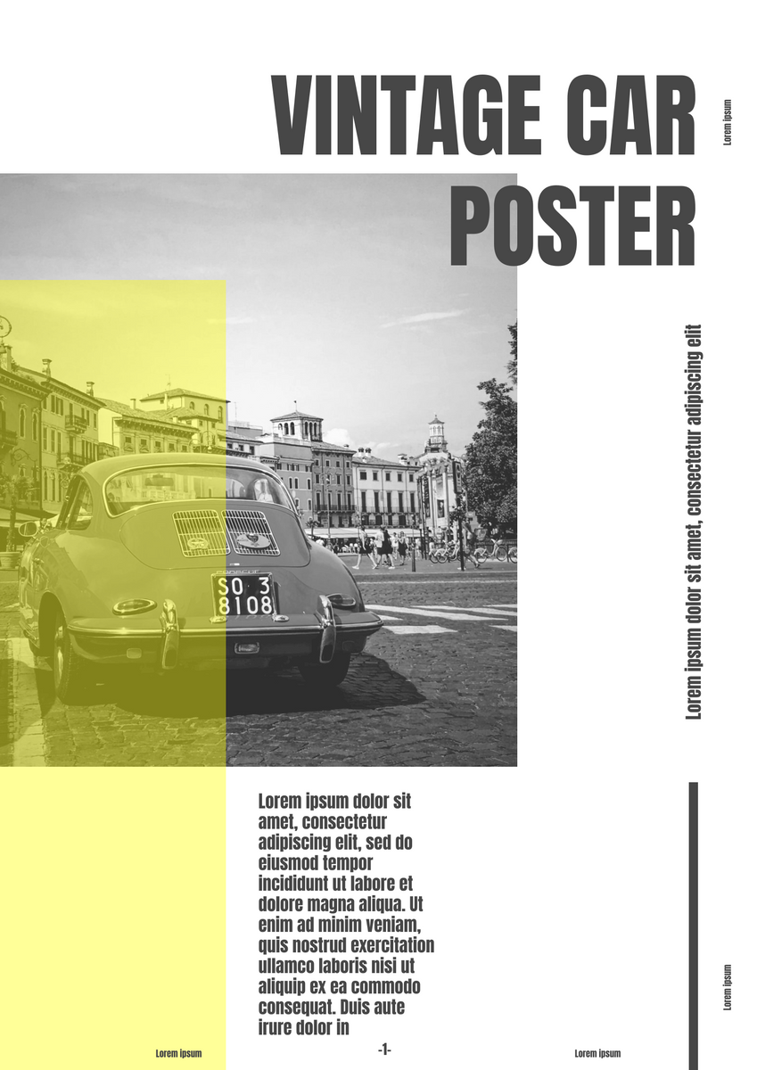 Poster template: Vintage Car Newpaper Poster (Created by InfoART's Poster marker)