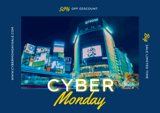Gift Card template: Yellow And Blue Photo Cyber Monday Gift Card (Created by InfoART's Gift Card maker)