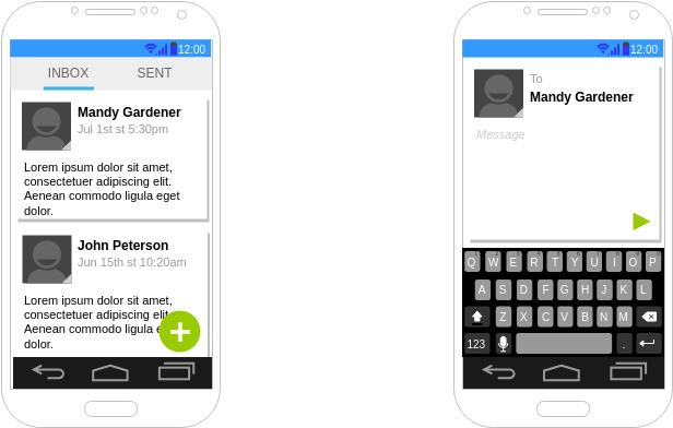 Text SMS Android Wireframe Example