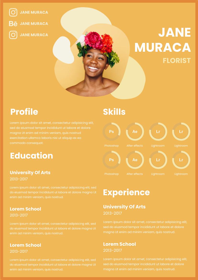Resume template: Sunrise Orange Resume (Created by InfoART's Resume maker)