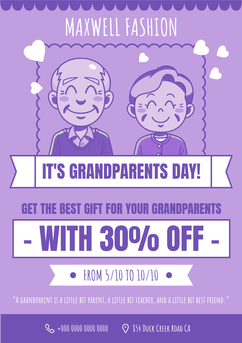 Flyer template: Grandparents Day Discount Flyer (Created by InfoART's Flyer maker)