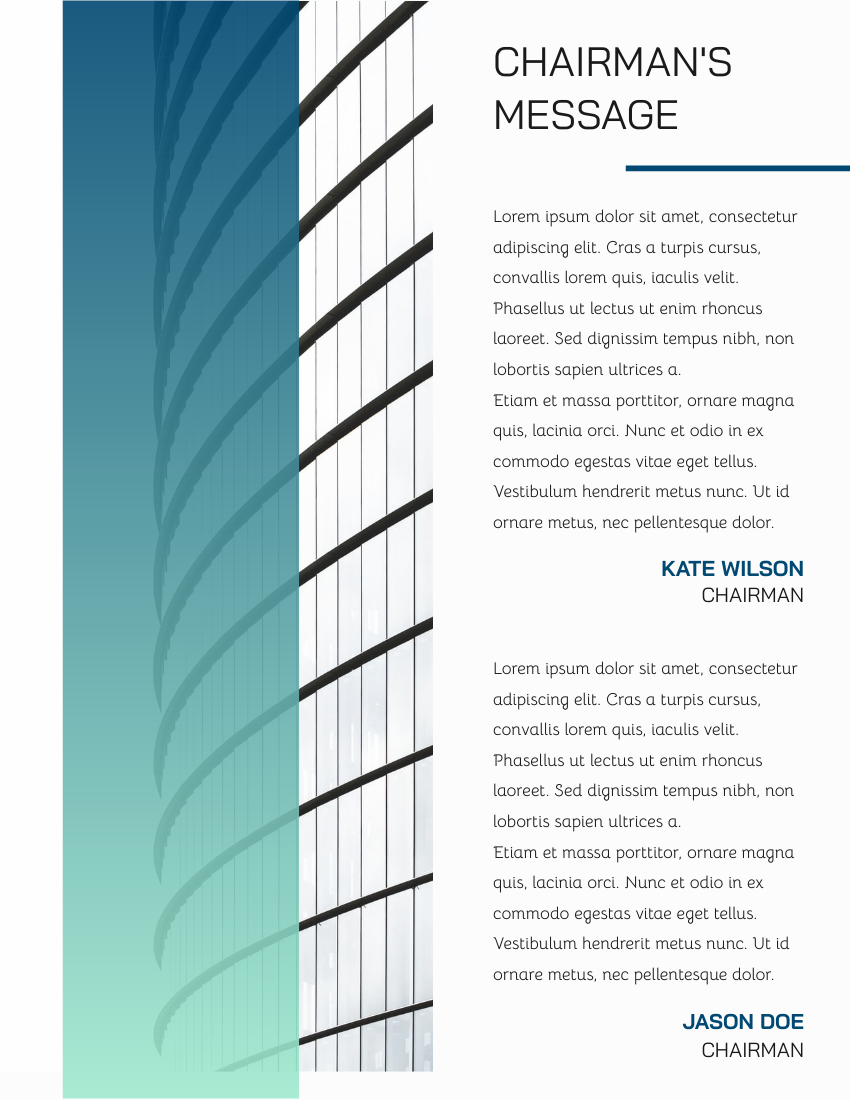 Report template: Blue Gradient Architecture Annual Report (Created by InfoART's Report maker)