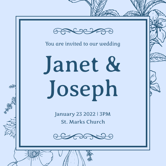 Invitation template: Mono Blue Floral Pattern Wedding Invitation (Created by InfoART's Invitation marker)