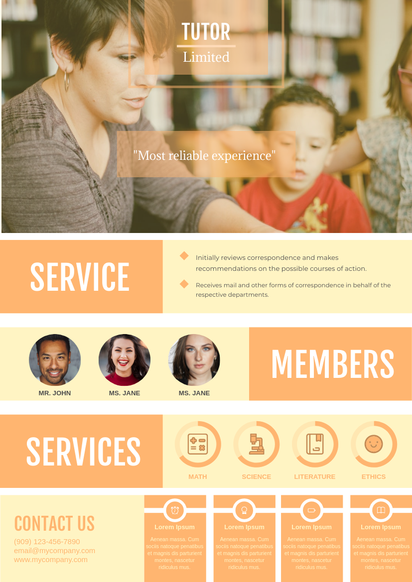 Flyer template: Tutoring Course Flyer (Created by InfoART's Flyer maker)