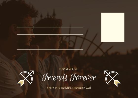 Postcard template: Sunset And Friends Photo Friendship Postcard (Created by InfoART's Postcard maker)