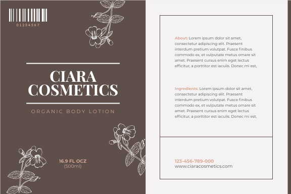 Label template: Organic Cosmetics Product Label (Created by InfoART's Label maker)