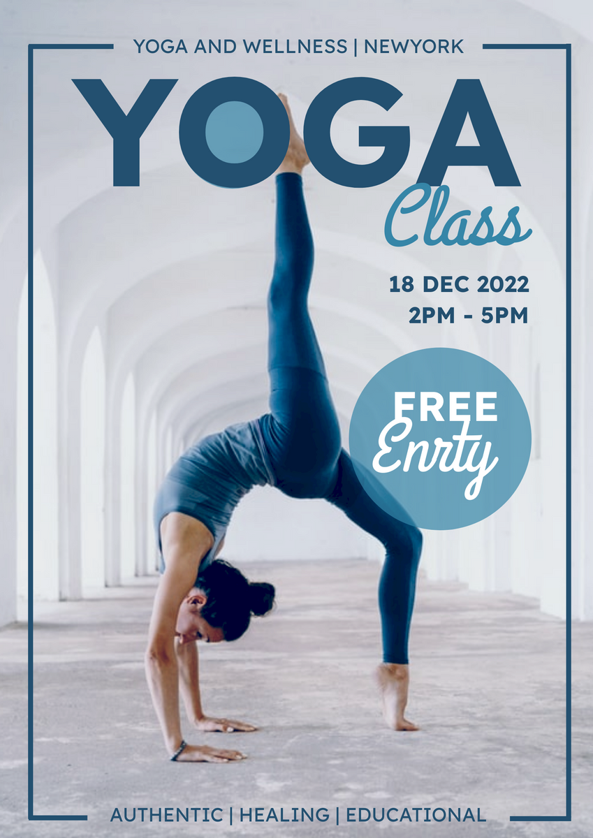 Poster template: Blue Yoga And Wellness Yoga Class Poster (Created by InfoART's Poster marker)