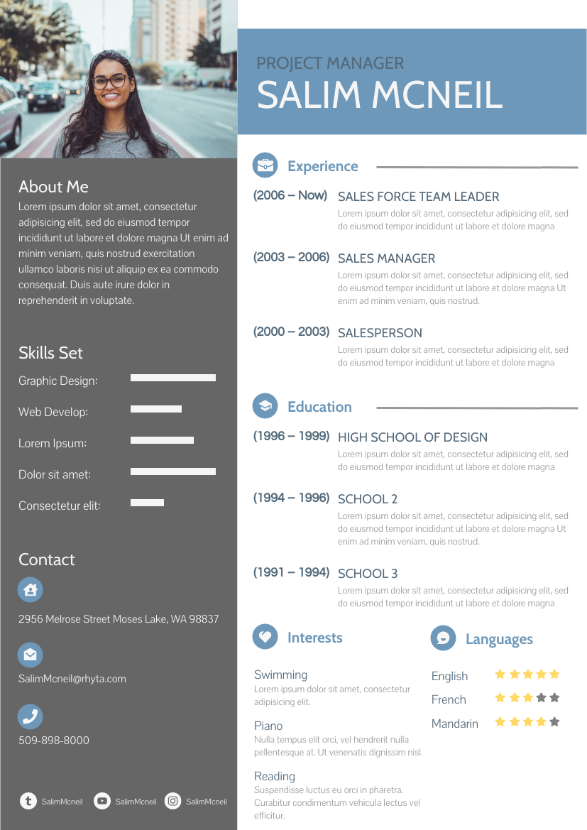 Resume template: 2 Columns Blue Resume (Created by InfoART's Resume maker)