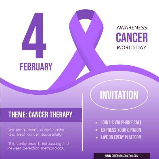Invitation template: World Cancer Day Conference Invitation (Created by InfoART's Invitation maker)