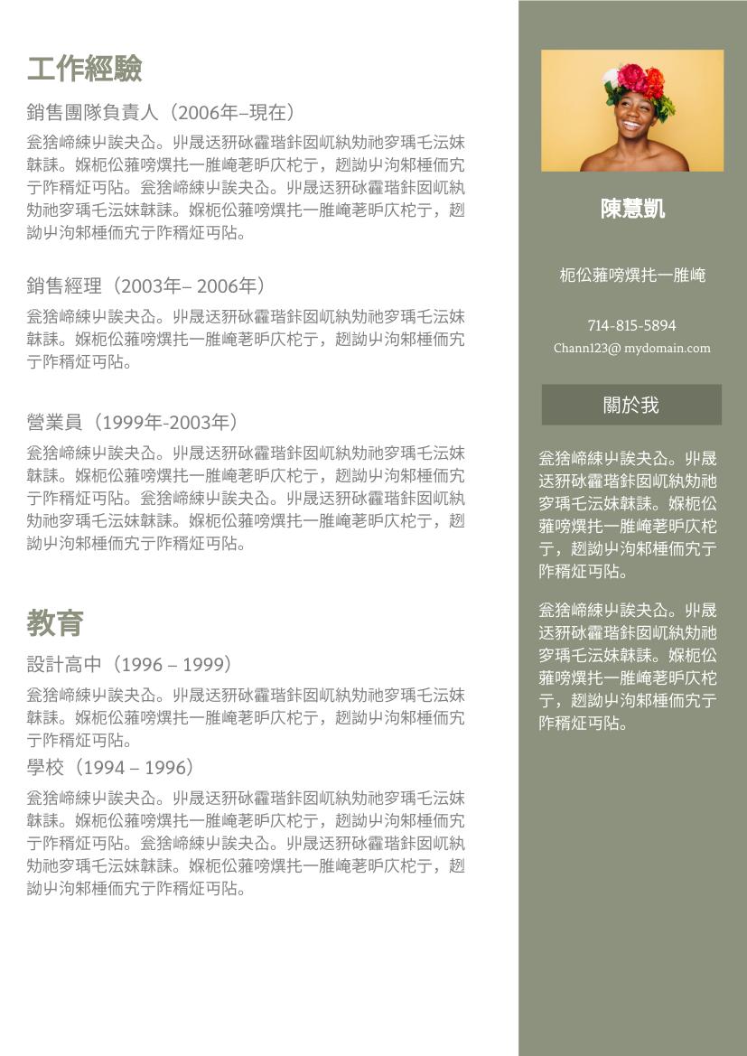履歷表 template: 橄欖色簡歷 (Created by InfoART's 履歷表 maker)