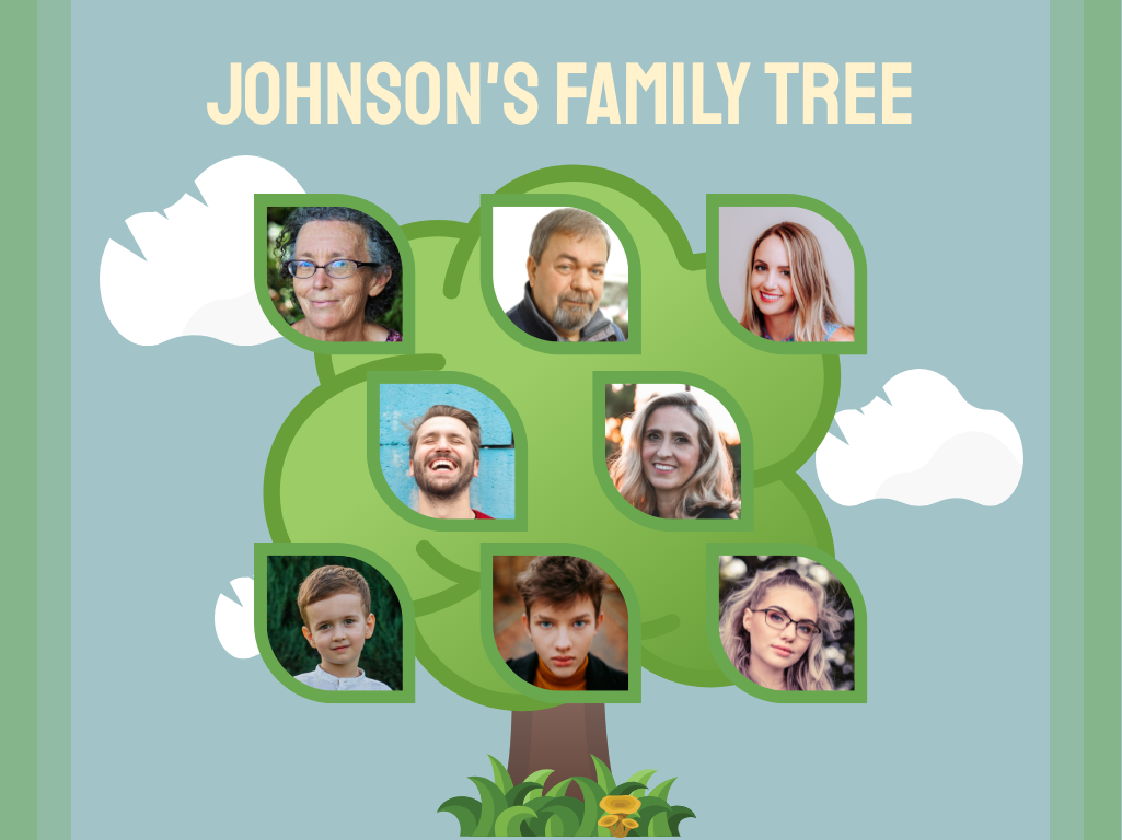 Family Tree template: Cartoon Family Tree (Created by Collage's Family Tree maker)