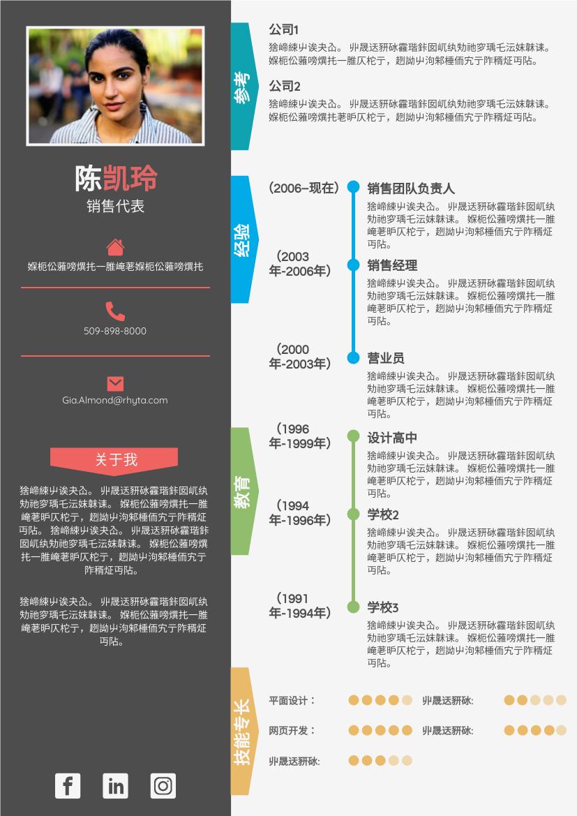 履历表 template: 色彩缤纷的简历 (Created by InfoART's 履历表 maker)