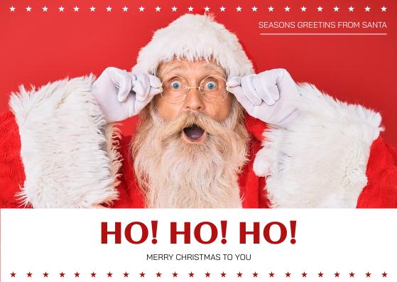 Postcard template: Red Santa Photo Merry Christmas Postcard (Created by InfoART's Postcard maker)