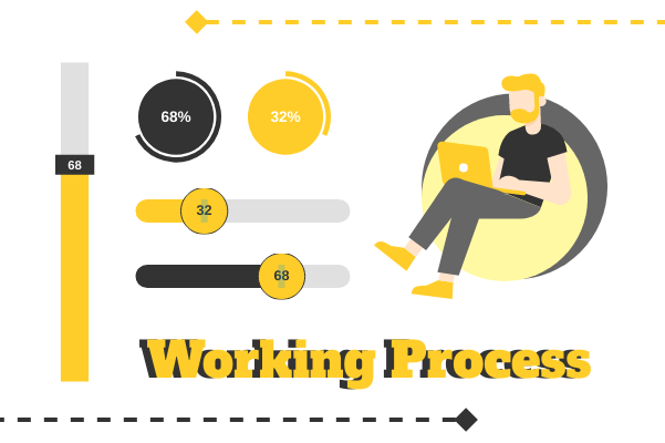 Business template: Working Process In 2 Sides (Created by InfoChart's Business maker)