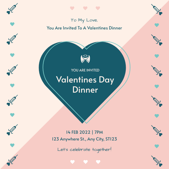 Invitation template: Pink And Blue Hearts Valentines Day Dinner Invitation (Created by InfoART's Invitation maker)