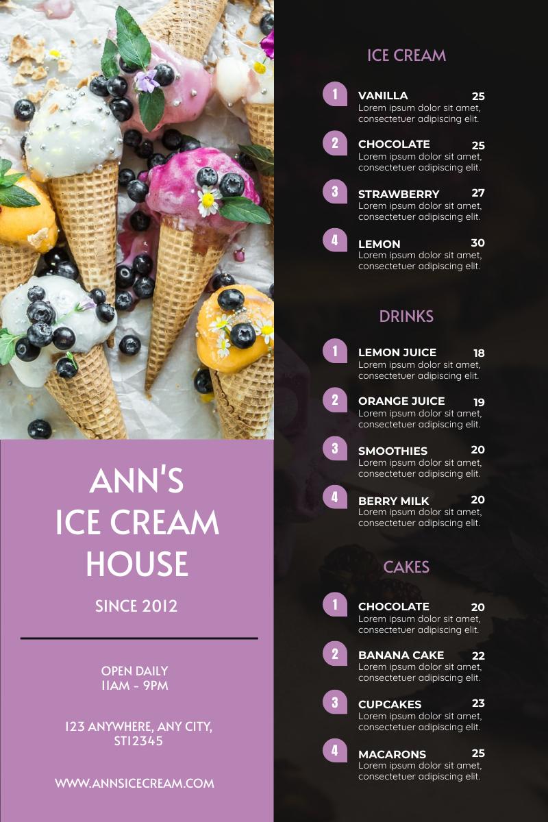 Menu template: Purple Ice Cream Photo Ice-cream House Menu (Created by InfoART's Menu maker)