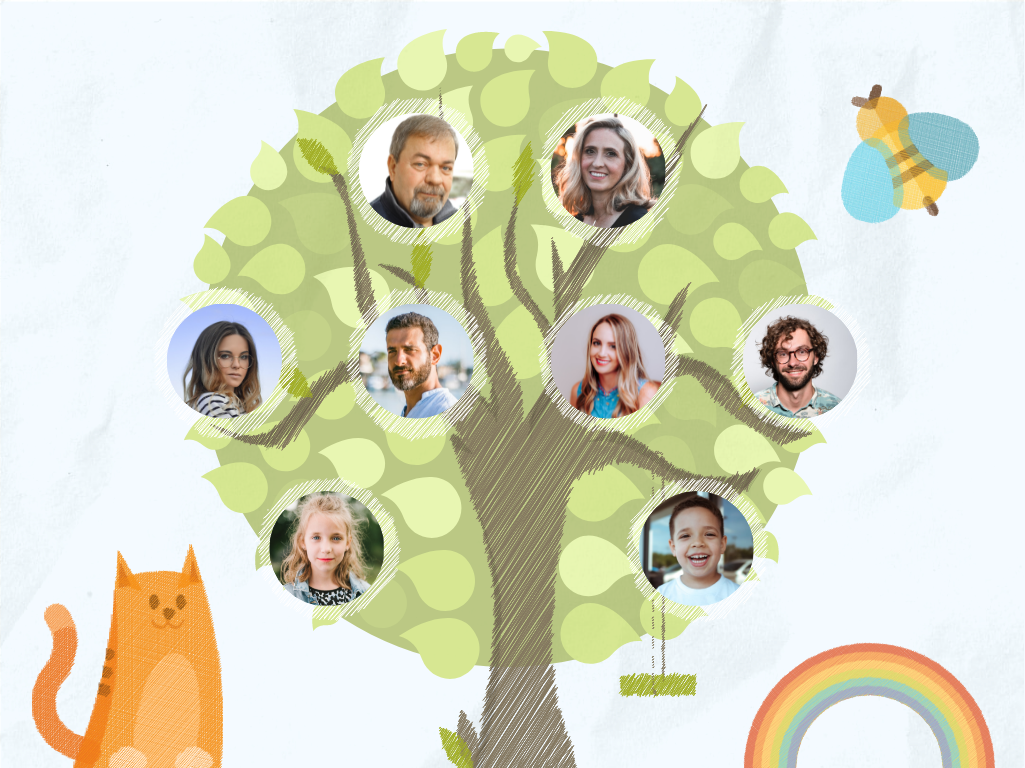 Family Tree template: Cute Children Sketch Family Tree (Created by Collage's Family Tree maker)
