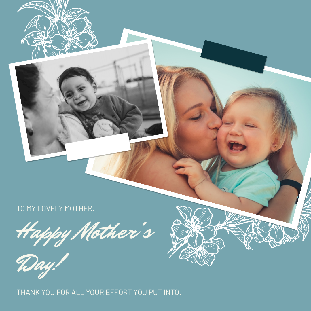 Instagram Post template: Blue Floral Photo Collage Mother's Day Instagram Post (Created by InfoART's Instagram Post maker)