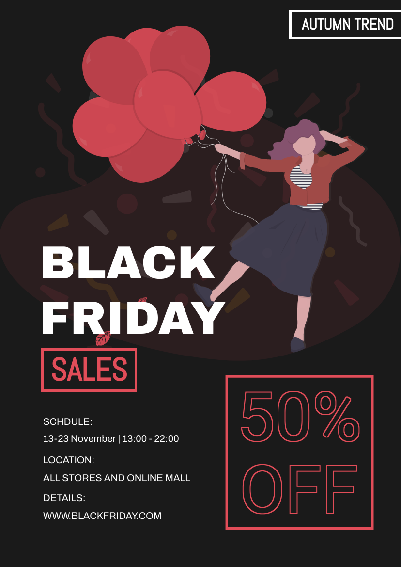 Flyer template: Red Black Friday Discount Flyer (Created by InfoART's Flyer maker)