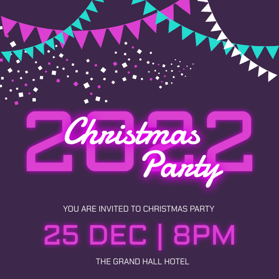 Invitation template: Purple Neon 2020 Christmas Party Invitation (Created by InfoART's Invitation marker)