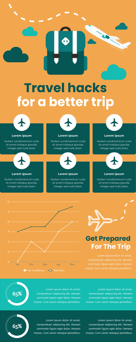 Infographic template: Travel Hacks For A Better Trip Infographic (Created by InfoART's Infographic maker)