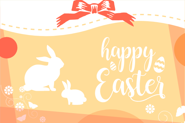 Greeting Card template: Happy Easter Rabbit Greeting Card 2 (Created by InfoART's Greeting Card maker)