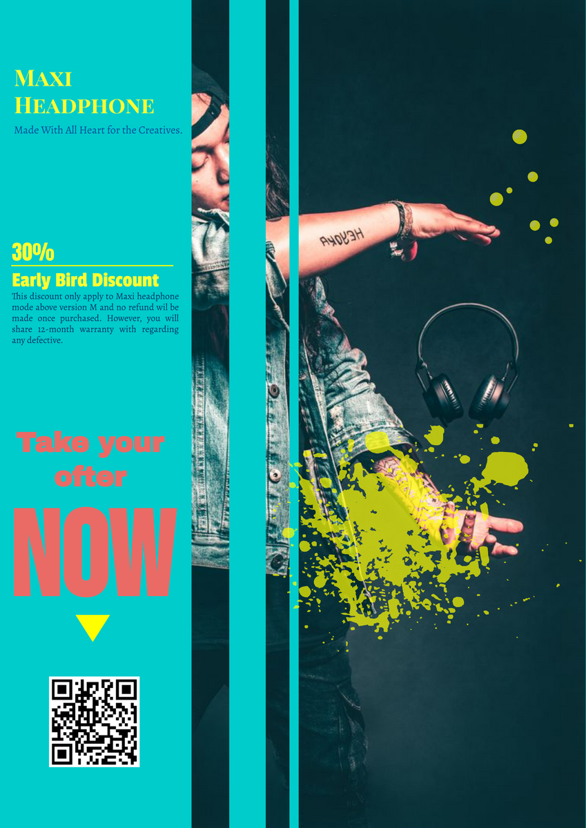 Poster template: Headphone Promotion Poster (Created by InfoART's Poster maker)