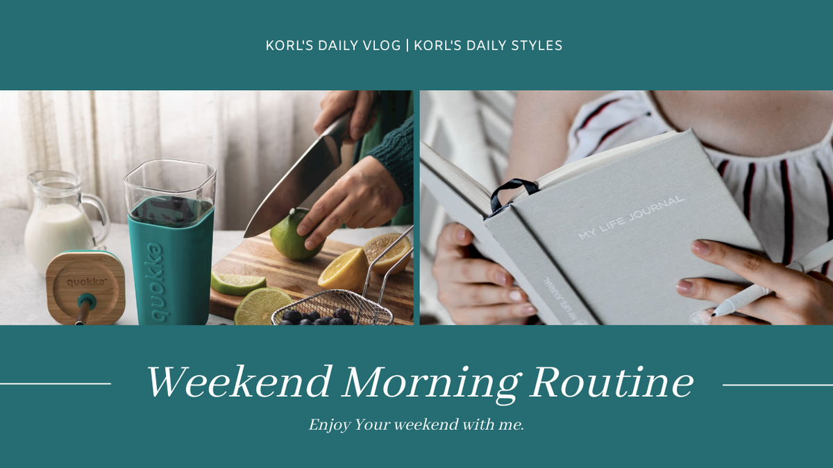 YouTube Thumbnail template: Simple Blue Photo Weekend Morning Routine YouTube Thumbnail (Created by InfoART's YouTube Thumbnail maker)