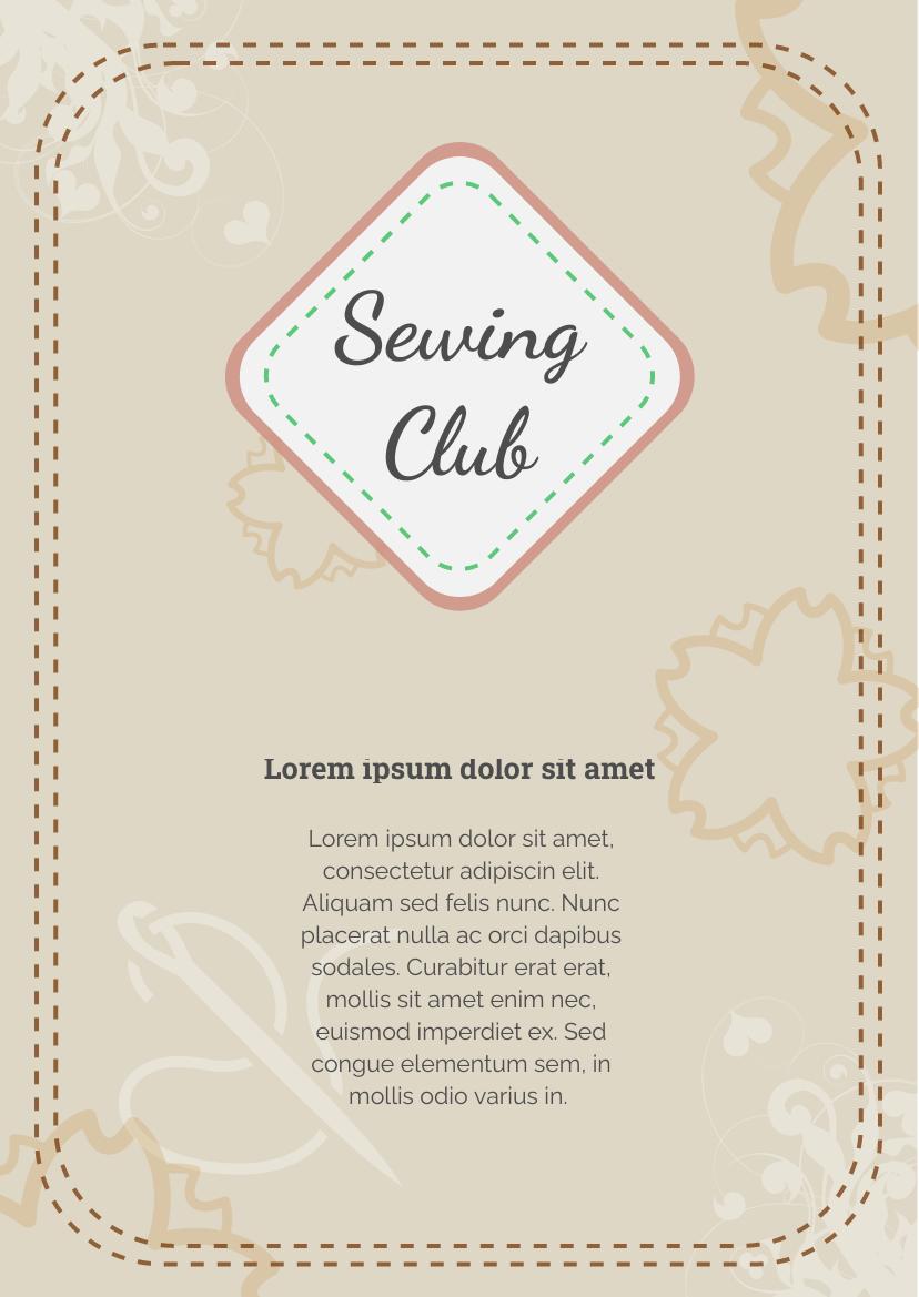 Flyer template: Sewing Club Flyer (Created by InfoART's Flyer maker)